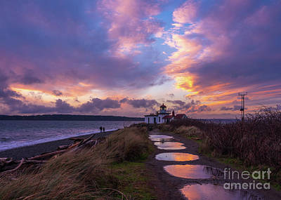 Royalty-Free and Rights-Managed Images - Discovery Park Lighthouse Sunset Puddles by Mike Reid