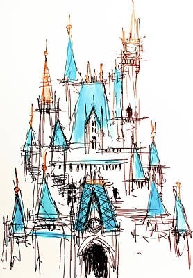 Drawing - Disney Cinderella Castle Sketch 1 by Jason Nicholas