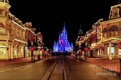 Comedian Drawings Rights Managed Images - Disney World Main Street after Dark Royalty-Free Image by Nick Zelinsky Jr