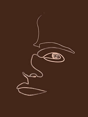 Royalty-Free and Rights-Managed Images - Distortions - Minimal Abstract Face - Single Stroke Portrait by Studio Grafiikka