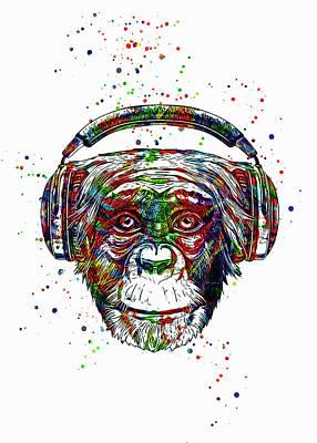 Animals Digital Art - DJ Monkey by Ian Mitchell