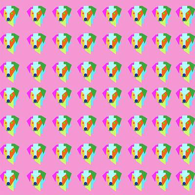 Royalty-Free and Rights-Managed Images - Dog Pattern WPAP Style Pink background by Ahmad Nusyirwan