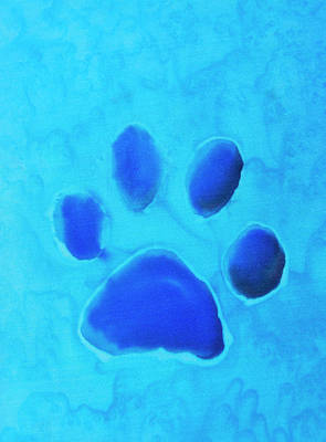 Royalty-Free and Rights-Managed Images - Dog Paw Silk Painting in Blue by Iris Richardson