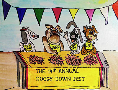 Animals Drawings - Doggy Down Fest by Sharon Hill
