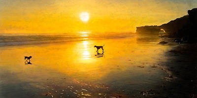 Rose - Dogs Frolicking on the Beach by Christina Ford