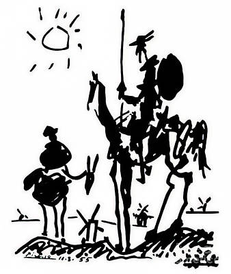 Recently Sold - Animals Drawings - Don Quixote by Pablo Picasso 1955 by Pablo Picasso