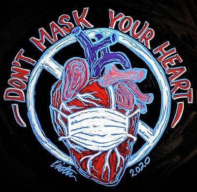Drawing - Don't Mask Your Heart by Kirsten Beitler