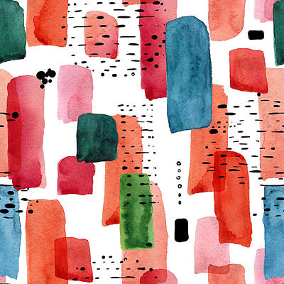 Royalty-Free and Rights-Managed Images - Doodle seamless pattern of watercolor orange and blue brush stroke and black dots by Julien