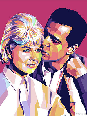 Royalty-Free and Rights-Managed Images - Doris Day and James Garner by Stars on Art