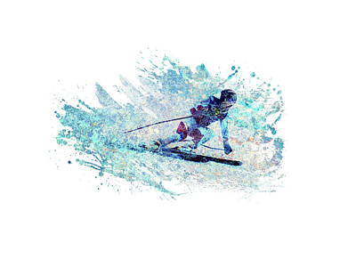Sports Royalty-Free and Rights-Managed Images - Downhill Skiing by All Sport Art