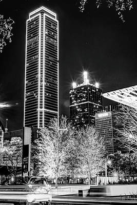 The Who - Downtown Dallas Texas at Night in Black and White by Gregory Ballos