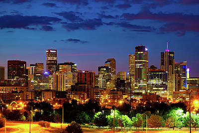 Royalty-Free and Rights-Managed Images - Downtown Denver Colorful Colorado Skyline At Twilight by Gregory Ballos