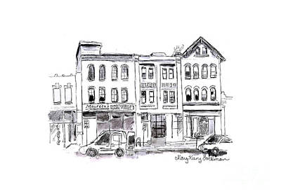 Drawing - Downtown Flower Shop - Whimsical City Street Scene by Mary Kunz Goldman