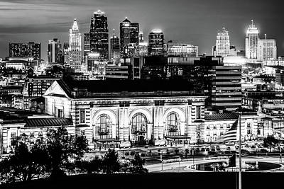 Basketball Patents Royalty Free Images - Downtown Kansas City Skyline and Union Station in Black and White Royalty-Free Image by Gregory Ballos