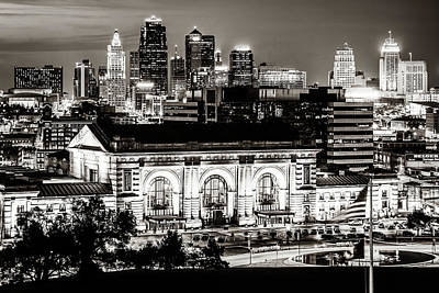 Basketball Patents Royalty Free Images - Downtown Kansas City Skyline and Union Station in Sepia Royalty-Free Image by Gregory Ballos