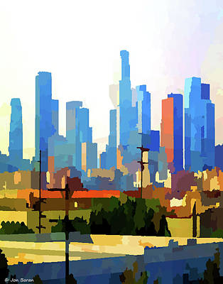 Clouds Rights Managed Images - Downtown Los Angeles Skyline Royalty-Free Image by Jon Baran