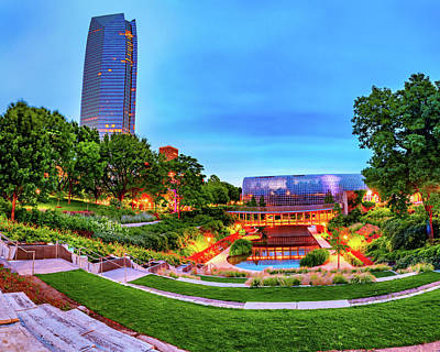 Design Turnpike Vintage Maps - Downtown Oklahoma City and Myriad Botanical Gardens at Dawn by Gregory Ballos