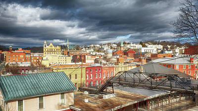 Pediatricians Office Rights Managed Images - Downtown Staunton Virginia and the Sears Hill Bridge Royalty-Free Image by Susan Rissi Tregoning