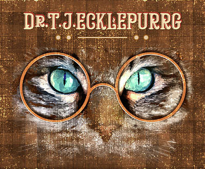 Mixed Media Royalty Free Images - Dr. T. J. Ecklepurrg is watching you - Dr. T.J Eckleburg - The Great Gatsby - Cat with glasses 02 Royalty-Free Image by Studio Grafiikka