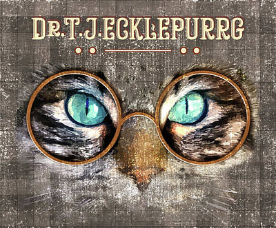 Royalty-Free and Rights-Managed Images - Dr. T. J. Ecklepurrg is watching you - Dr. T.J Eckleburg - The Great Gatsby - Cat with glasses 03 by Studio Grafiikka