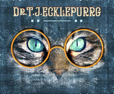 Mixed Media Royalty Free Images - Dr. T. J. Ecklepurrg is watching you - Dr. T.J Eckleburg - The Great Gatsby - Cat with glasses 01 Royalty-Free Image by Studio Grafiikka
