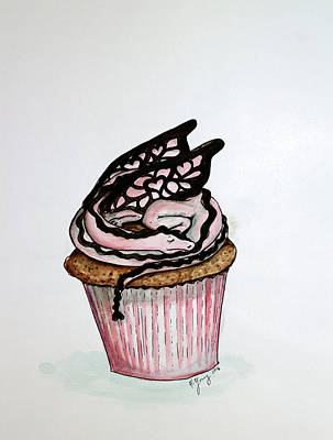Painting - Dragon Cupcake by Heather Young