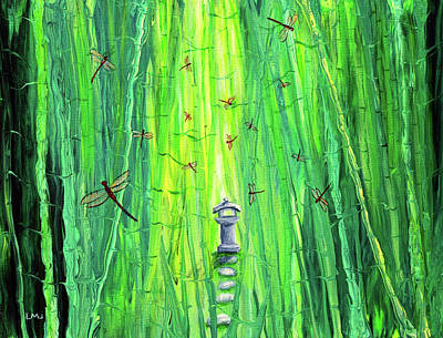 Painting - Dragonflies around a Shinto Shrine by Laura Iverson