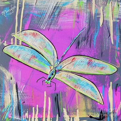 Old Masters - Dragonfly Fun- Pink- Turquoise  by Patty Donoghue