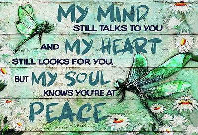 Royalty-Free and Rights-Managed Images - Dragonfly My Mind Still Talks To You Canvas Poster by Julien