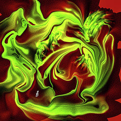 Abstract Male Faces - Dragons fight #k8 by Leif Sohlman