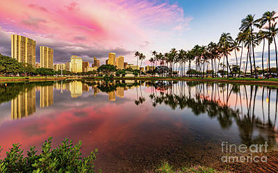 Staff Picks Cortney Herron - Dramatic Sunset over Hawaiian Buildings and Palm Trees by Phillip Espinasse