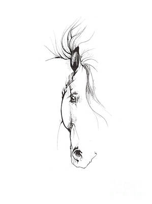 Animals Drawings - Drawing of a horse 2017 02 08 by Angel Ciesniarska