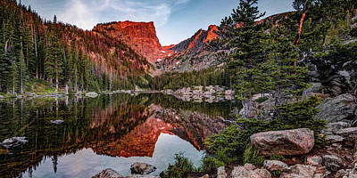 Abstract Animalia Royalty Free Images - Dream Lake Morning Mountain Peak Reflections Panorama Royalty-Free Image by Gregory Ballos