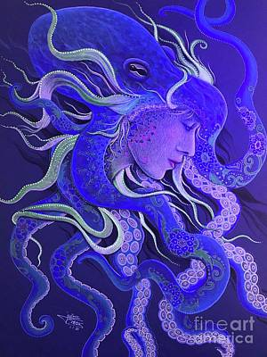 Drawing - Dream of the Octopus by Julie Oakes