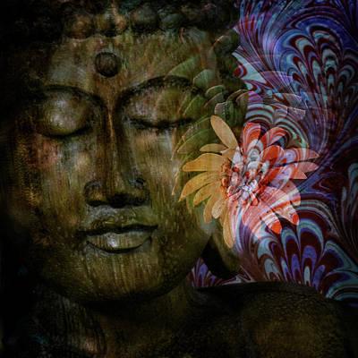 Surrealism Digital Art Rights Managed Images - Dreaming Buddha Royalty-Free Image by Sheryl Karas