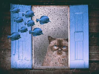 Surrealism Digital Art - Dreaming cat by Mihaela Pater