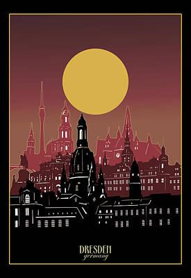 Nirvana - Dresden Skyline Minimal 3 by Bekim M