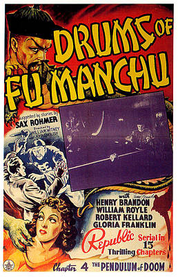 Mixed Media Royalty Free Images - Drums of Fu Manchu poster 1940 Royalty-Free Image by Stars on Art
