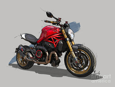 Abstract Drawings - Ducati Monster Original Drawing by Drawspots Illustrations