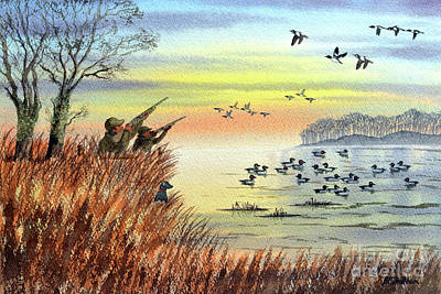 Cartoons Tees - Duck Hunting With Dad For Goldeneye by Bill Holkham