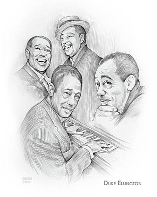 Drawings Royalty Free Images - Duke Ellington - Pencil Royalty-Free Image by Greg Joens