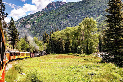 Royalty-Free and Rights-Managed Images - Durango and Silverton Colorado Train Passing Through The San Juan Mountains by Gregory Ballos