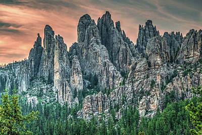 School Teaching - Dusk At Cathedral Spires - Black Hills South Dakota by Gregory Ballos