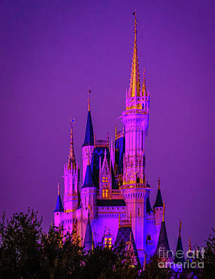 Royalty-Free and Rights-Managed Images - Dusk at Cinderella Castle by Nick Zelinsky