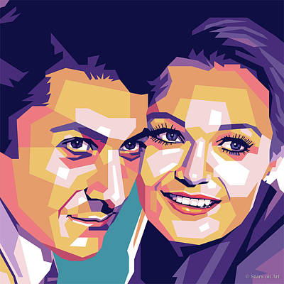Modern Sophistication Line Drawings - Dustin Hoffman and Valerie Perrine by Stars on Art
