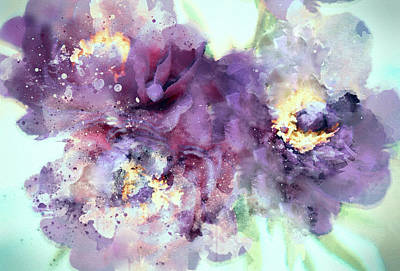 Namaste With Pixels Royalty Free Images - Dusty Purple Camellias in Watercolor Royalty-Free Image by Susan Maxwell Schmidt