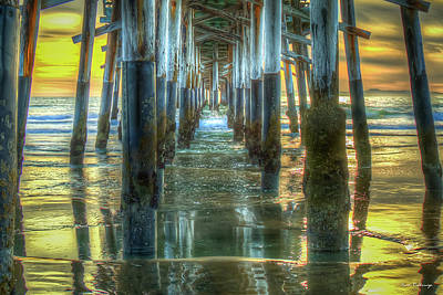 Abstract Shapes Janice Austin Royalty Free Images - Under The Newport Beach Pier Sunset Reflections Orange County CA Los Angeles Architectural Art Royalty-Free Image by Reid Callaway