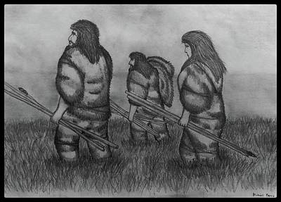 Animals Drawings - Early Hunters W/ Border by Michael Panno