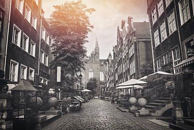 Latidude Image - Early Morning on Mariacka Street Gdansk Poland Vintage Sepia  by Carol Japp