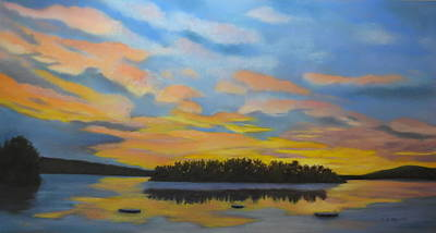 Pastel - Early Morning on Spofford Lake by Carol Corliss